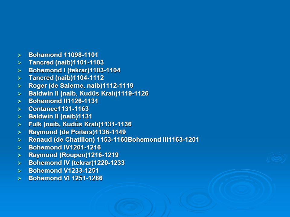 Bohamond 11098-1101 Tancred (naib)1101-1103. Bohemond I (tekrar)1103-1104. Tancred (naib)1104-1112.