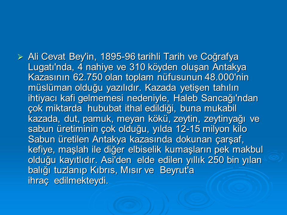 Ali Cevat Bey in, 1895-96 tarihli Tarih ve Coğrafya Lugatı nda, 4 nahiye ve 310 köyden oluşan Antakya Kazasının 62.750 olan toplam nüfusunun 48.000 nin müslüman olduğu yazılıdır.