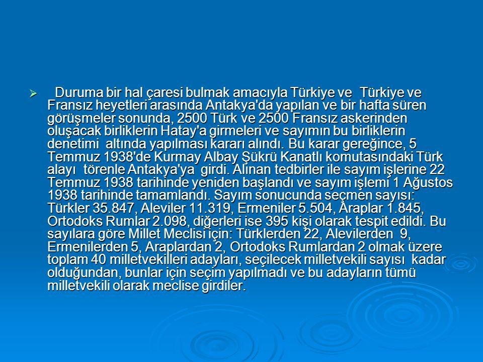 Duruma bir hal çaresi bulmak amacıyla Türkiye ve Türkiye ve Fransız heyetleri arasında Antakya da yapılan ve bir hafta süren görüşmeler sonunda, 2500 Türk ve 2500 Fransız askerinden oluşacak birliklerin Hatay a girmeleri ve sayımın bu birliklerin denetimi altında yapılması kararı alındı.