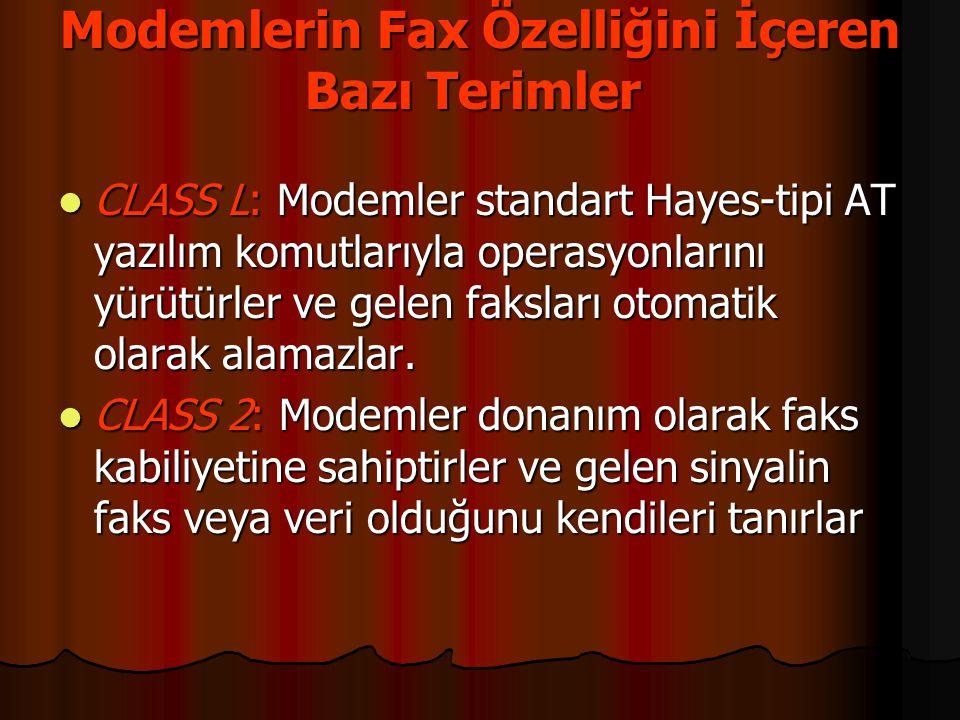 Modemlerin Fax Özelliğini İçeren Bazı Terimler