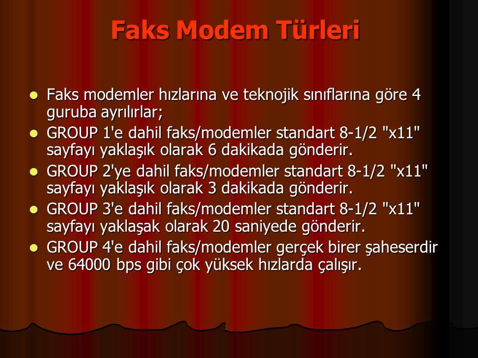 Faks Modem Türleri Faks modemler hızlarına ve teknojik sınıflarına göre 4 guruba ayrılırlar;