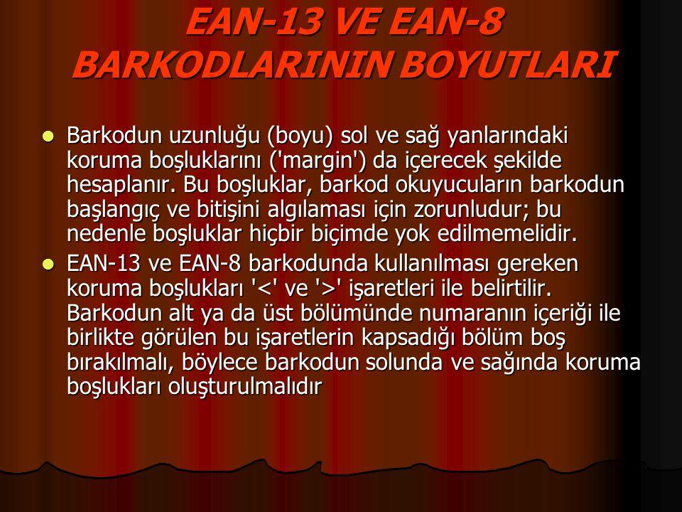 EAN-13 VE EAN-8 BARKODLARININ BOYUTLARI