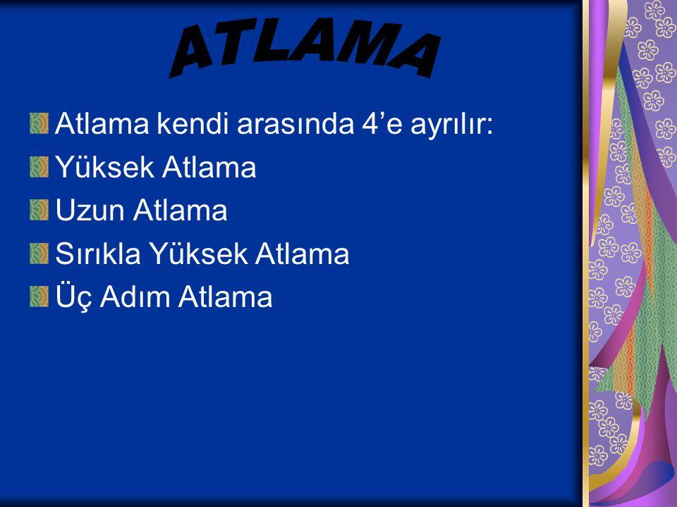 ATLAMA Atlama kendi arasında 4'e ayrılır: Yüksek Atlama Uzun Atlama