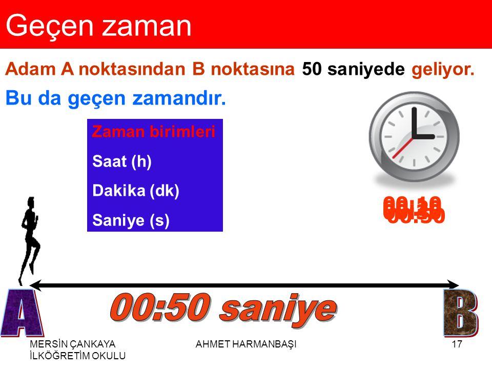 Geçen zaman A B 00:50 saniye Bu da geçen zamandır. 00:10 00:20 00:40
