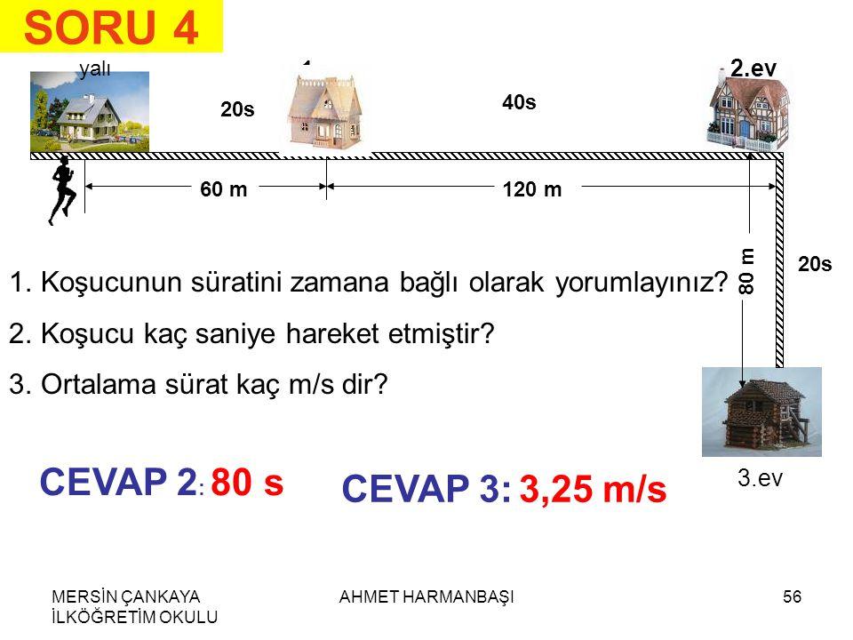 SORU 4 CEVAP 2: 80 s CEVAP 3: 3,25 m/s