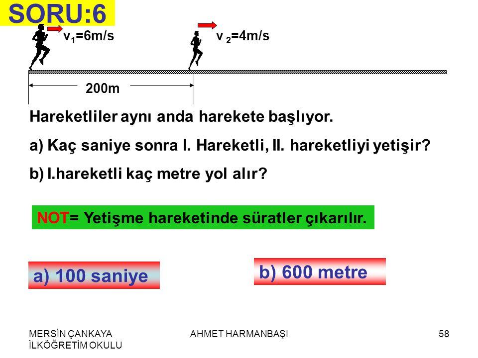 SORU:6 b) 600 metre a) 100 saniye