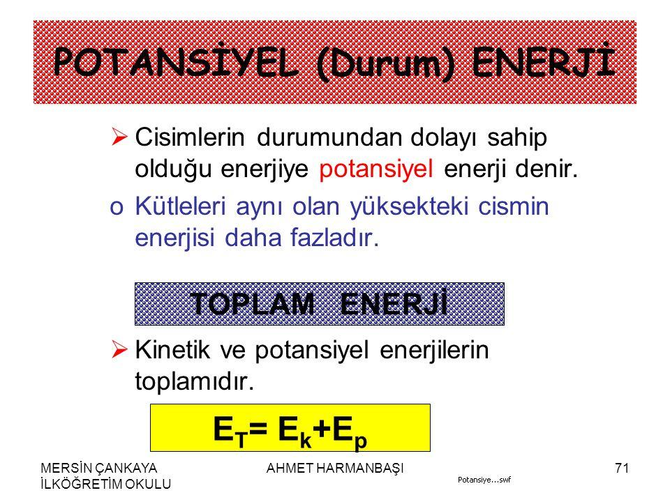 POTANSİYEL (Durum) ENERJİ