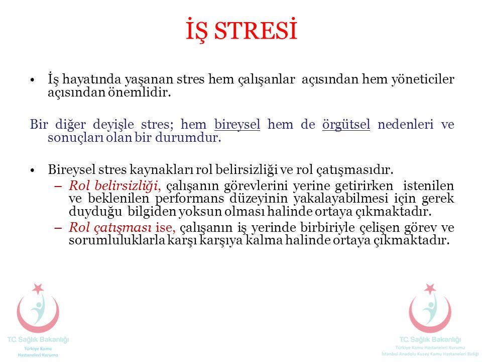 İŞ STRESİ İş hayatında yaşanan stres hem çalışanlar açısından hem yöneticiler açısından önemlidir.