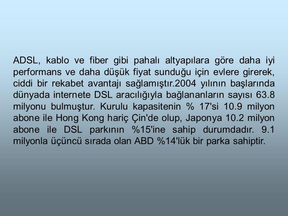 ADSL, kablo ve fiber gibi pahalı altyapılara göre daha iyi performans ve daha düşük fiyat sunduğu için evlere girerek, ciddi bir rekabet avantajı sağlamıştır.2004 yılının başlarında dünyada internete DSL aracılığıyla bağlananların sayısı 63.8 milyonu bulmuştur.
