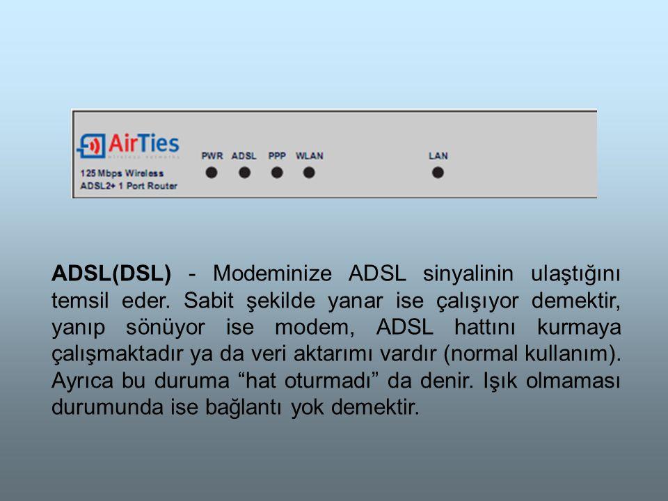 ADSL(DSL) - Modeminize ADSL sinyalinin ulaştığını temsil eder