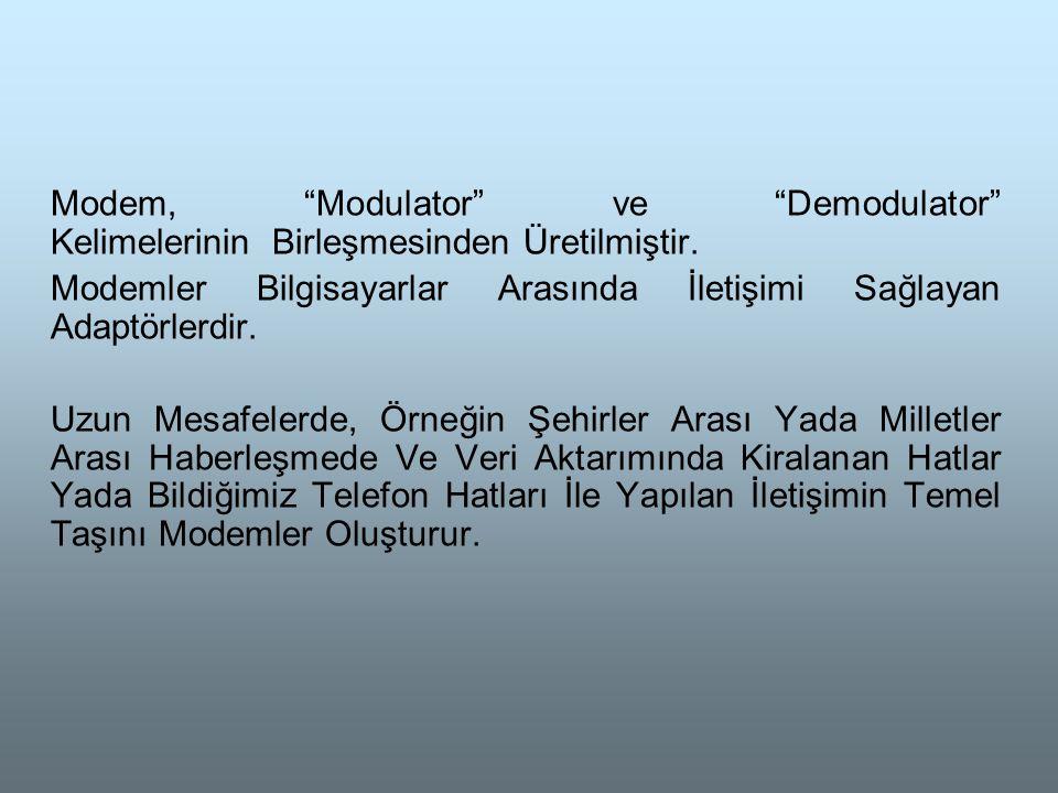 Modem, Modulator ve Demodulator Kelimelerinin Birleşmesinden Üretilmiştir.