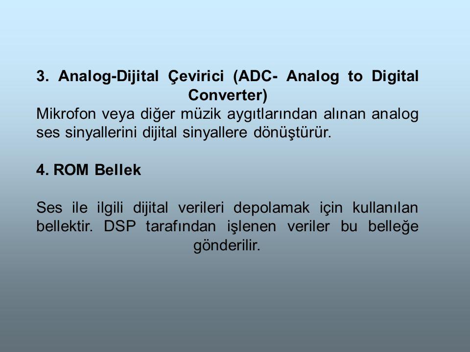 3. Analog-Dijital Çevirici (ADC- Analog to Digital Converter) Mikrofon veya diğer müzik aygıtlarından alınan analog ses sinyallerini dijital sinyallere dönüştürür.