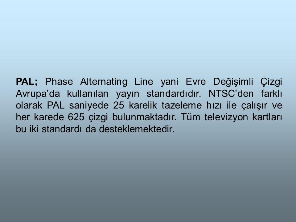 PAL; Phase Alternating Line yani Evre Değişimli Çizgi Avrupa'da kullanılan yayın standardıdır.