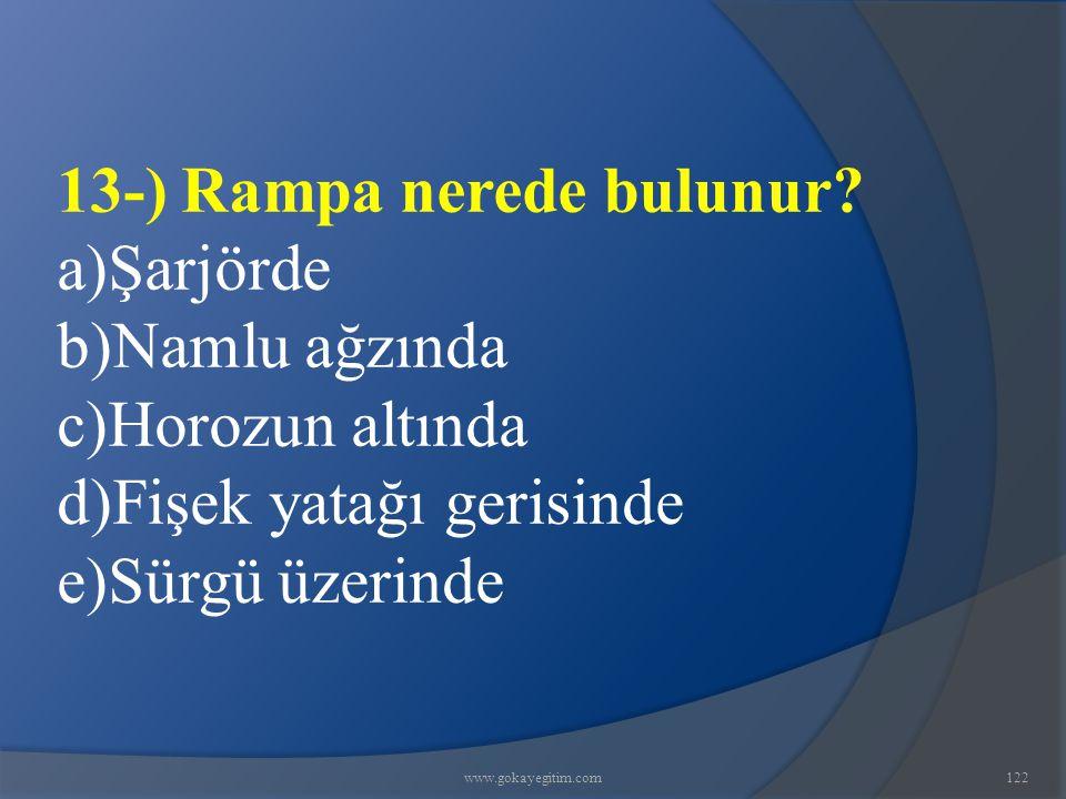 13-) Rampa nerede bulunur a)Şarjörde b)Namlu ağzında