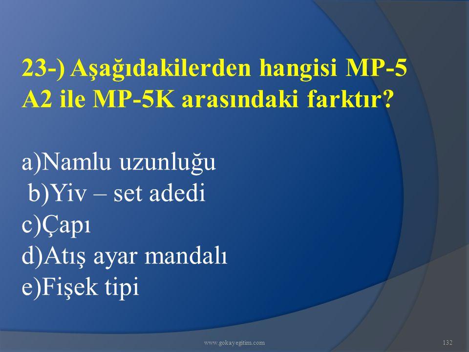 23-) Aşağıdakilerden hangisi MP-5 A2 ile MP-5K arasındaki farktır