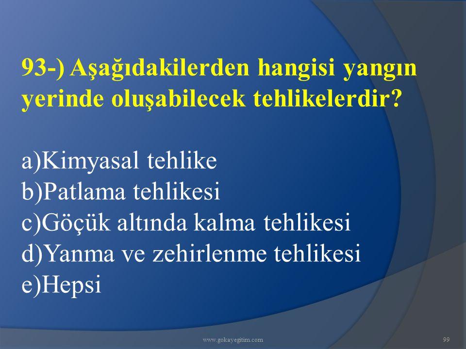 c)Göçük altında kalma tehlikesi d)Yanma ve zehirlenme tehlikesi