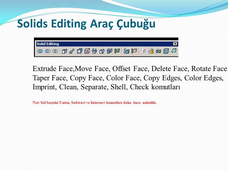 Solids Editing Araç Çubuğu