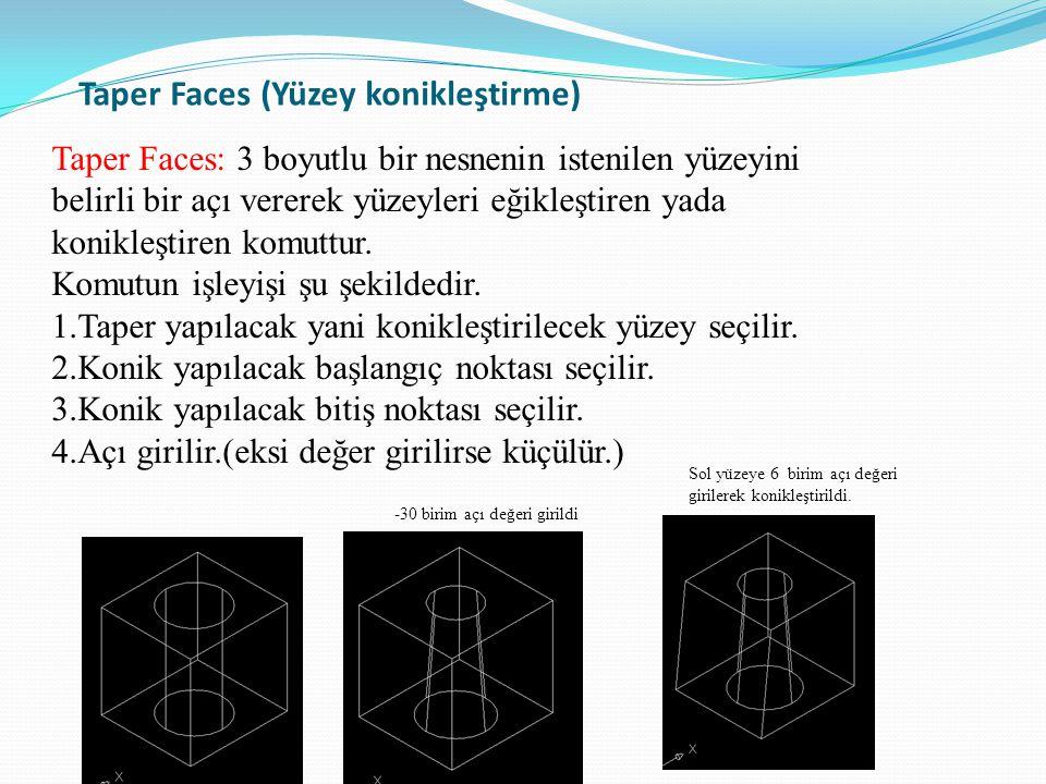 Taper Faces (Yüzey konikleştirme)
