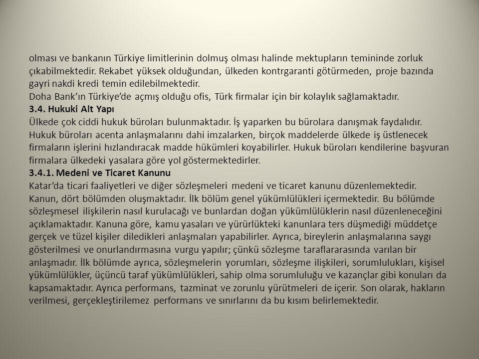 olması ve bankanın Türkiye limitlerinin dolmuş olması halinde mektupların temininde zorluk çıkabilmektedir.