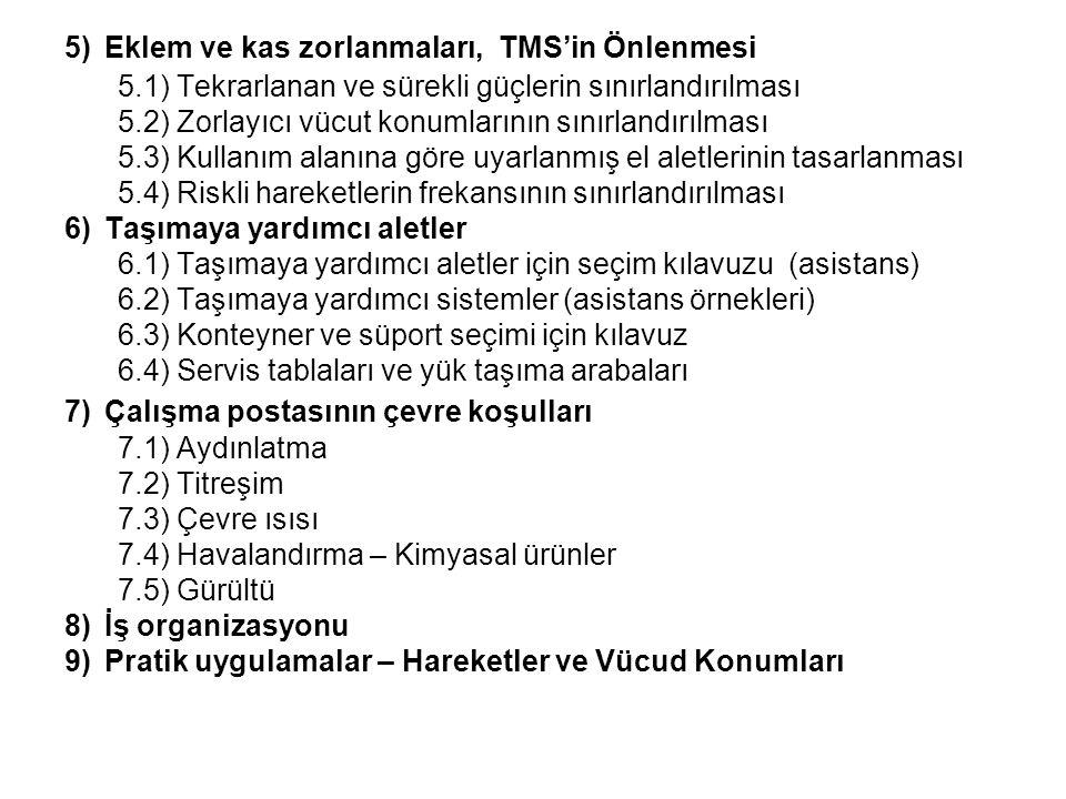 5) Eklem ve kas zorlanmaları, TMS'in Önlenmesi