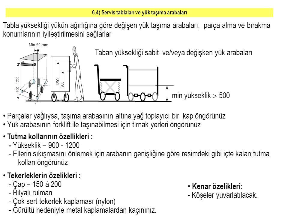 6.4) Servis tablaları ve yük taşıma arabaları
