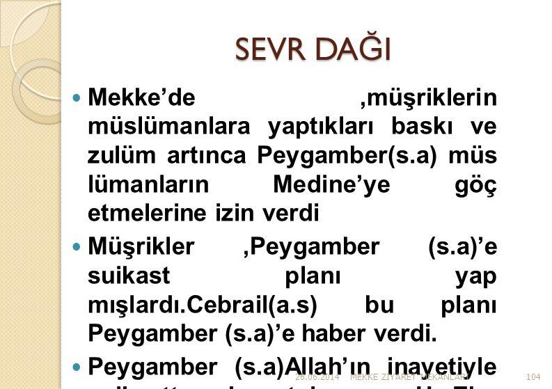 SEVR DAĞI Mekke'de ,müşriklerin müslümanlara yaptıkları baskı ve zulüm artınca Peygamber(s.a) müs lümanların Medine'ye göç etmelerine izin verdi.