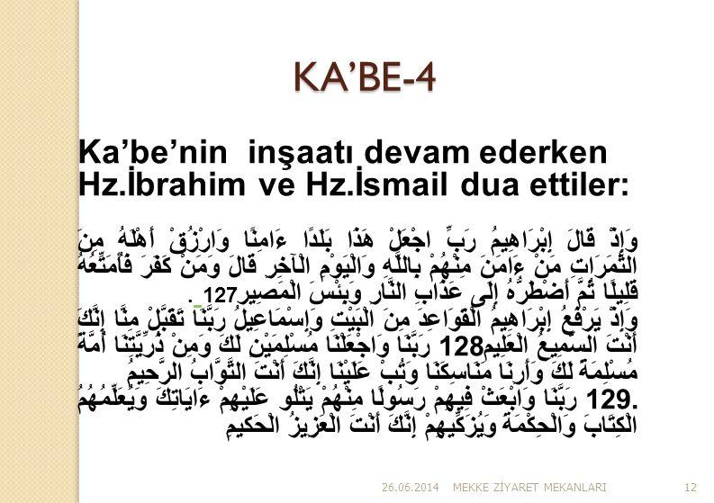 KA'BE-4 Ka'be'nin inşaatı devam ederken Hz.İbrahim ve Hz.İsmail dua ettiler: