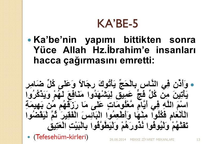 KA'BE-5 Ka'be'nin yapımı bittikten sonra Yüce Allah Hz.İbrahim'e insanları hacca çağırmasını emretti: