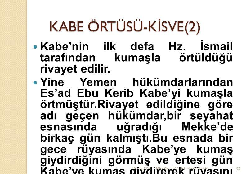 KABE ÖRTÜSÜ-KİSVE(2) Kabe'nin ilk defa Hz. İsmail tarafından kumaşla örtüldüğü rivayet edilir.