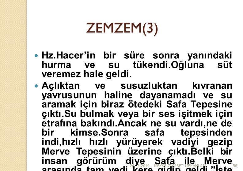 ZEMZEM(3) Hz.Hacer'in bir süre sonra yanındaki hurma ve su tükendi.Oğluna süt veremez hale geldi.