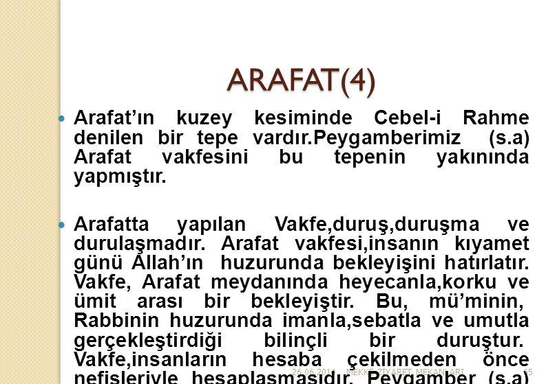ARAFAT(4) Arafat'ın kuzey kesiminde Cebel-i Rahme denilen bir tepe vardır.Peygamberimiz (s.a) Arafat vakfesini bu tepenin yakınında yapmıştır.