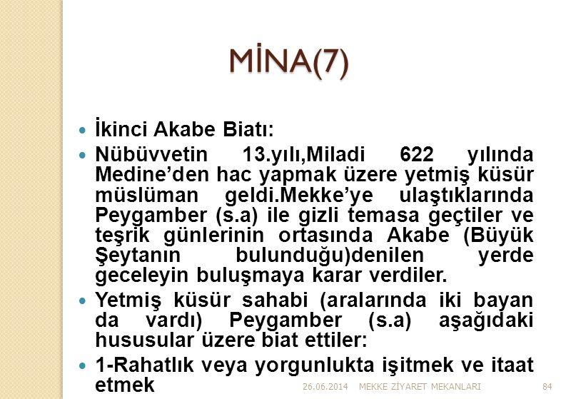 MİNA(7) İkinci Akabe Biatı:
