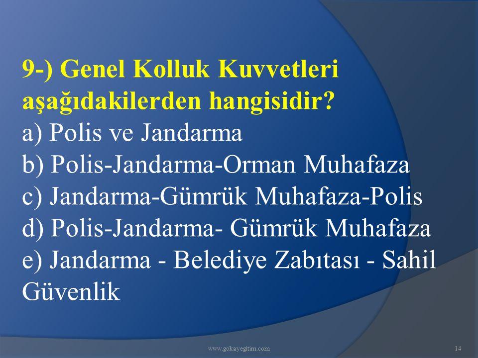 9-) Genel Kolluk Kuvvetleri aşağıdakilerden hangisidir