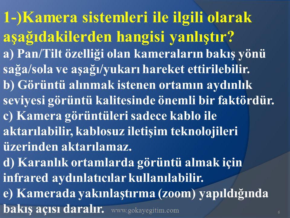 1-)Kamera sistemleri ile ilgili olarak aşağıdakilerden hangisi yanlıştır