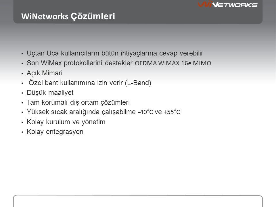 WiNetworks Çözümleri Uçtan Uca kullanıcıların bütün ihtiyaçlarına cevap verebilir. Son WiMax protokollerini destekler OFDMA WiMAX 16e MIMO.