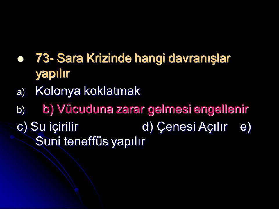 73- Sara Krizinde hangi davranışlar yapılır