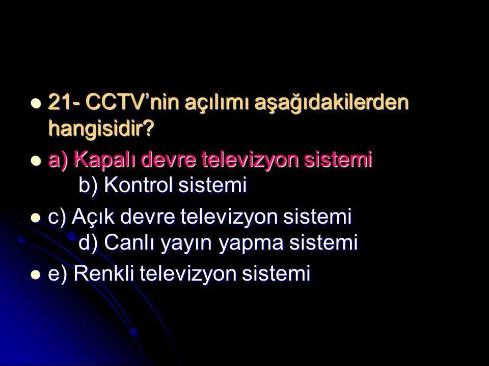 21- CCTV'nin açılımı aşağıdakilerden hangisidir