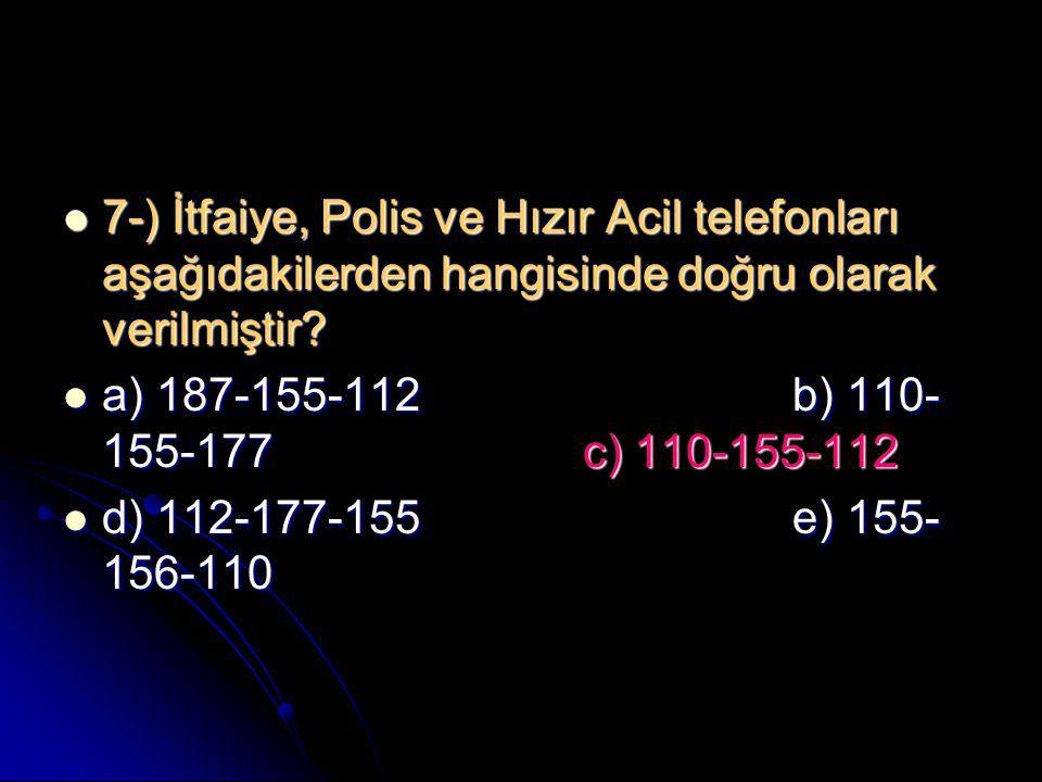 7-) İtfaiye, Polis ve Hızır Acil telefonları aşağıdakilerden hangisinde doğru olarak verilmiştir