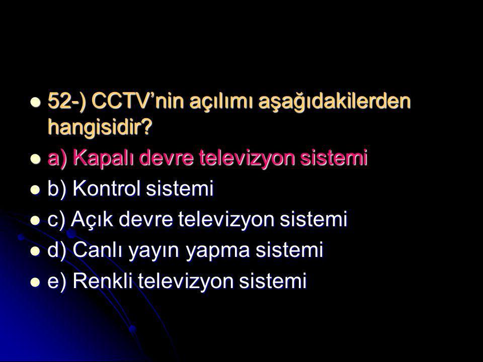 52-) CCTV'nin açılımı aşağıdakilerden hangisidir