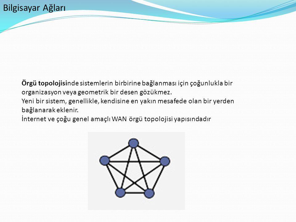 Bilgisayar Ağları Örgü topolojisinde sistemlerin birbirine bağlanması için çoğunlukla bir organizasyon veya geometrik bir desen gözükmez.
