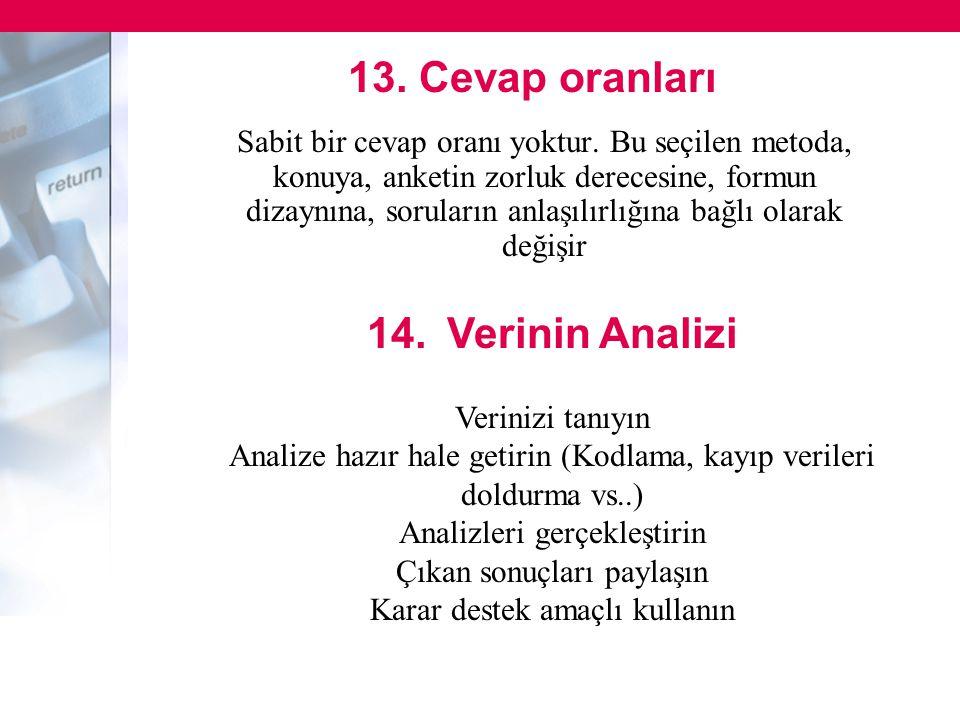 13. Cevap oranları 14. Verinin Analizi