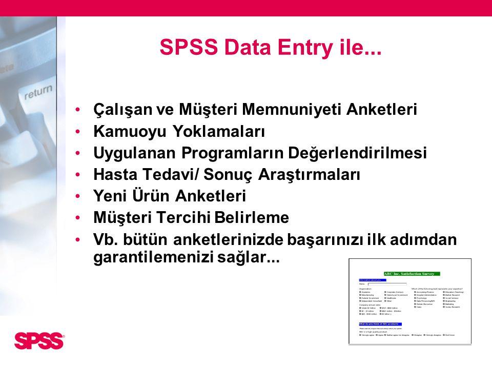 SPSS Data Entry ile... Çalışan ve Müşteri Memnuniyeti Anketleri