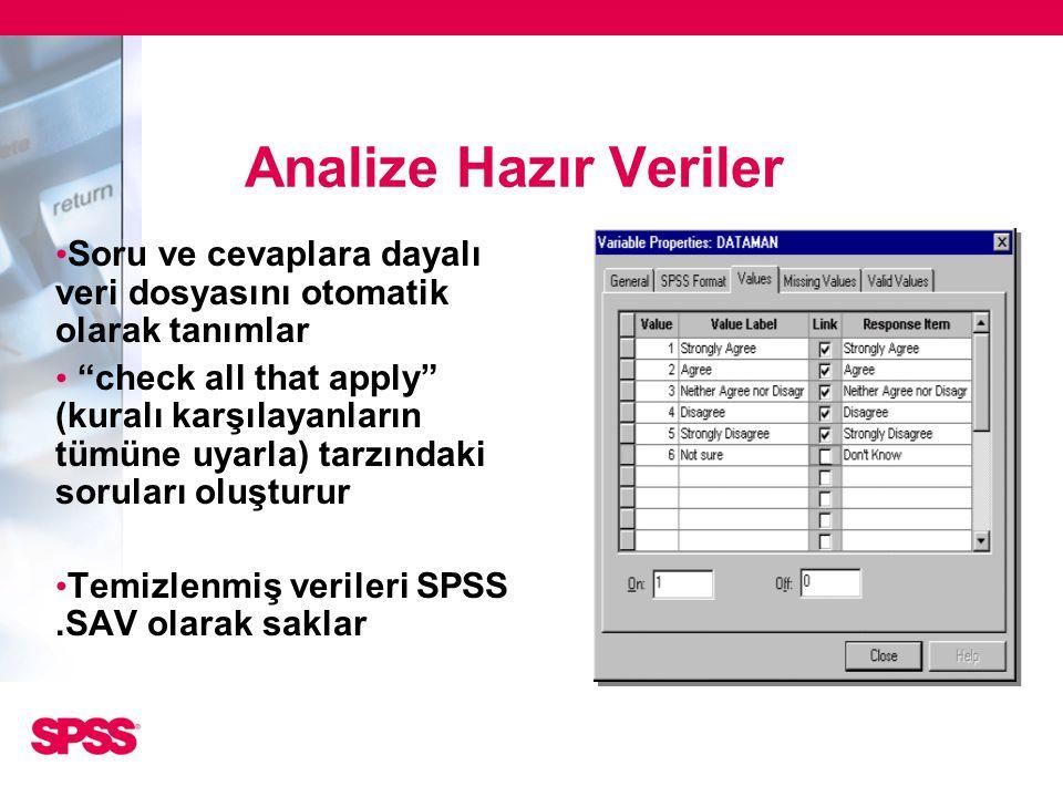 Analize Hazır Veriler Soru ve cevaplara dayalı veri dosyasını otomatik olarak tanımlar.