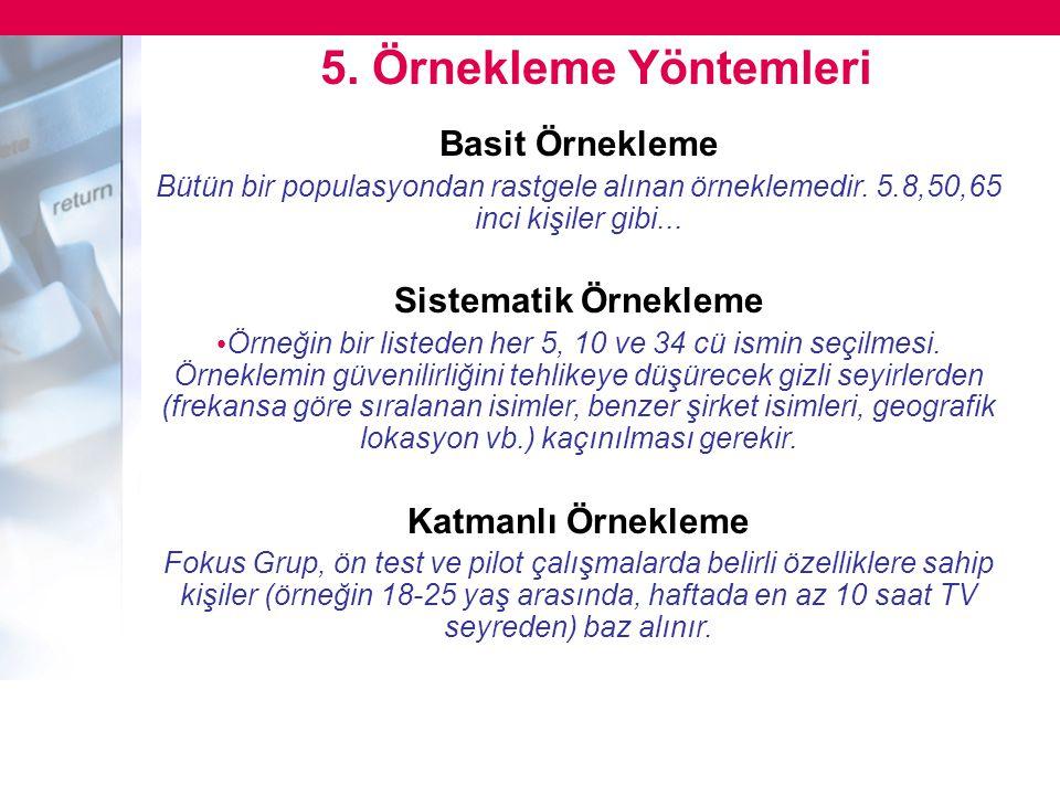5. Örnekleme Yöntemleri Basit Örnekleme Sistematik Örnekleme