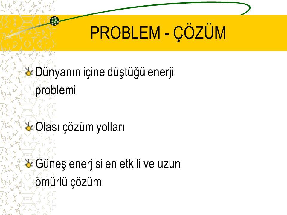 PROBLEM - ÇÖZÜM Dünyanın içine düştüğü enerji problemi