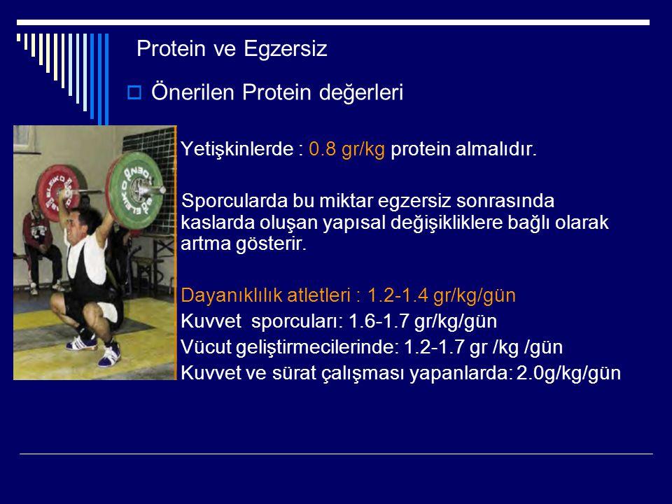 Önerilen Protein değerleri