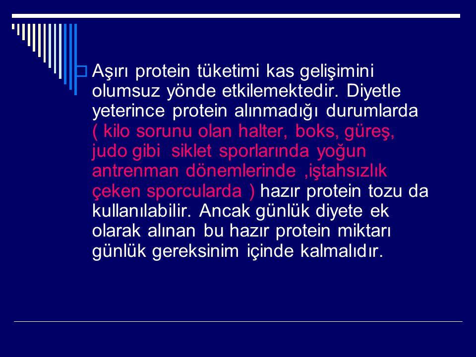 Aşırı protein tüketimi kas gelişimini olumsuz yönde etkilemektedir