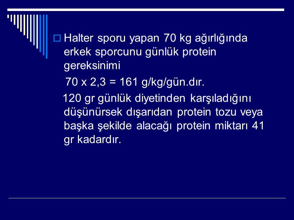 Halter sporu yapan 70 kg ağırlığında erkek sporcunu günlük protein gereksinimi