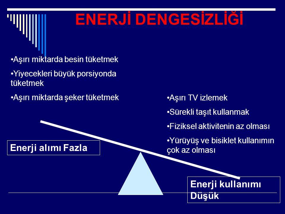 ENERJİ DENGESİZLİĞİ Enerji alımı Fazla Enerji kullanımı Düşük