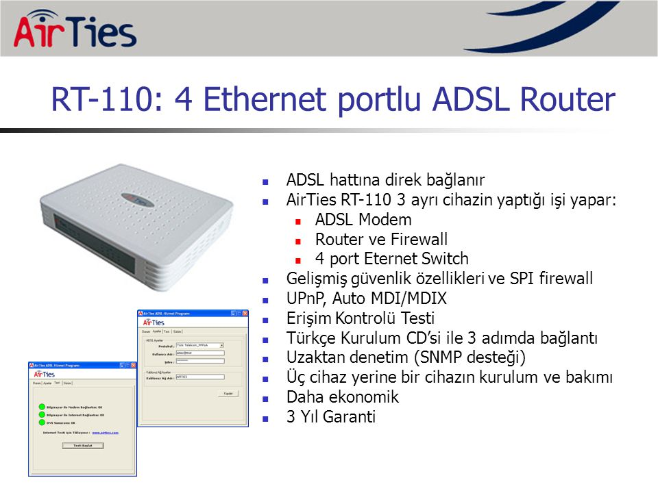 RT-110: 4 Ethernet portlu ADSL Router
